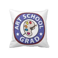 art school grad pillow - lesrubadesign dot com
